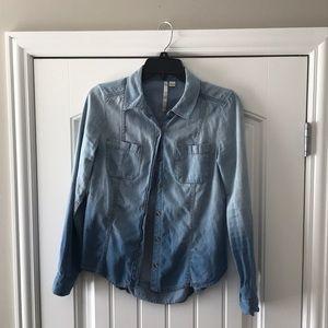 Lauren Conrad denim button up shirt